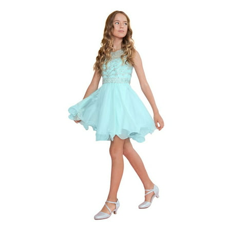 Calla Collection Girls Aqua Jewel Short Special Occasion Tween Dress