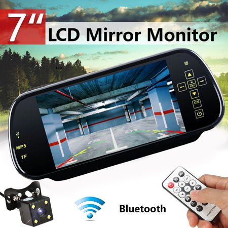 NEW 7'' Car MP5 Rearview Mirror DVR B luetooth Hands-free U-disk/SD Support FM Transmiter + Rear View Camera & Remote Control For Auto Vehicles