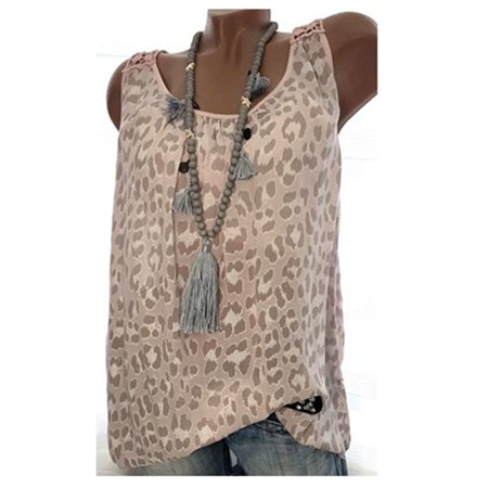 S-5XL Leopard Print Tank Tops Plus Size Women Summer Chiffon Vest Tops