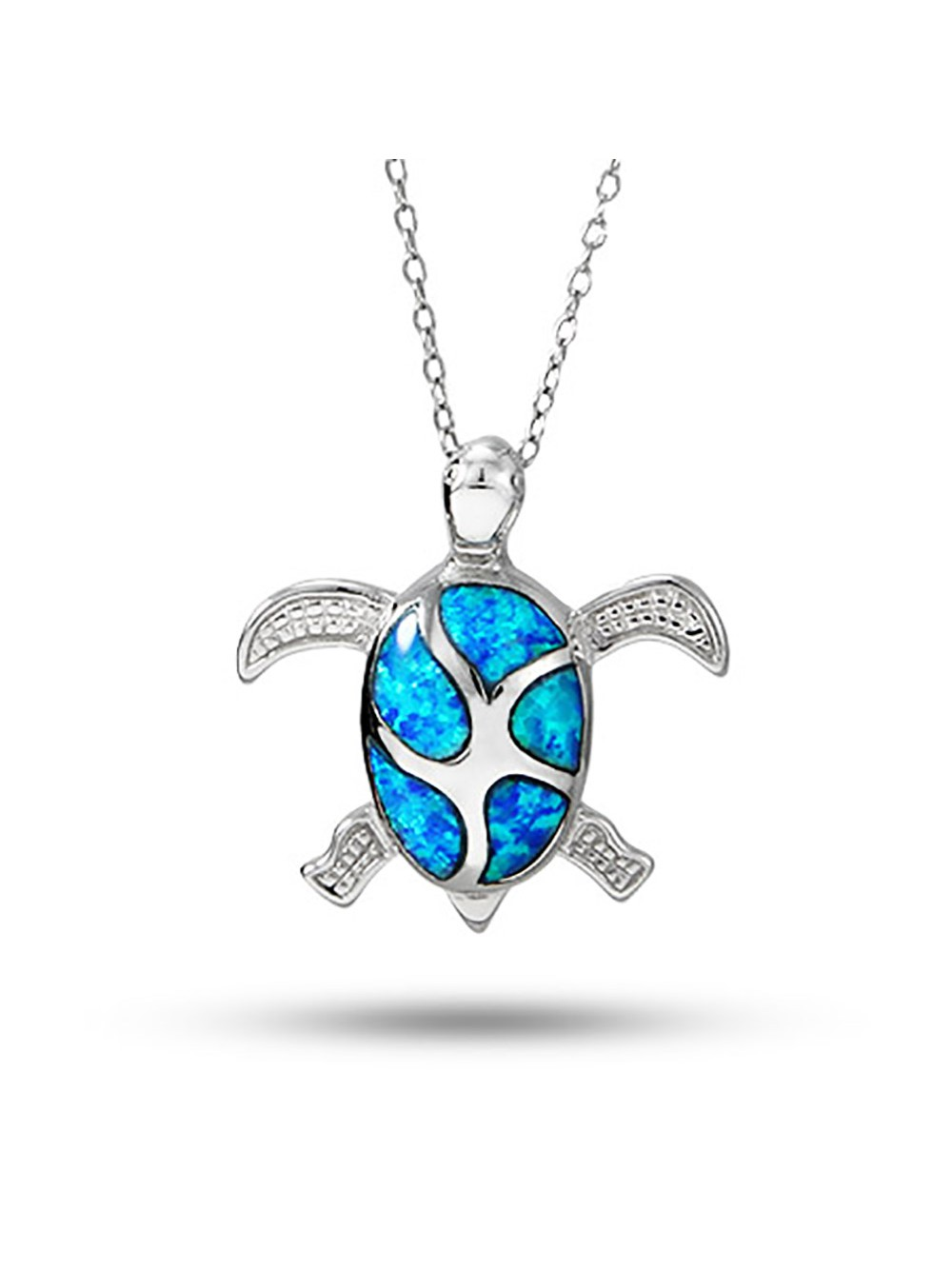 Sterling Silver Swimming Sea Turtle Necklace by