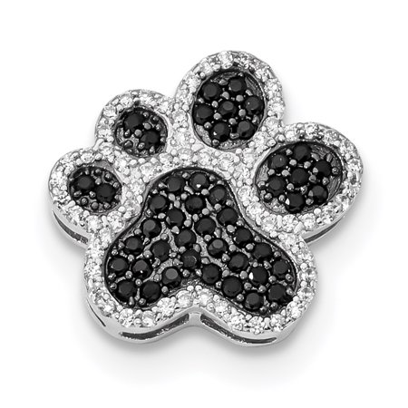 925 Sterling Silver Black/white Cubic Zirconia Cz Paw Print Pendant Charm Necklace Animal Dog Gifts For Women For Her