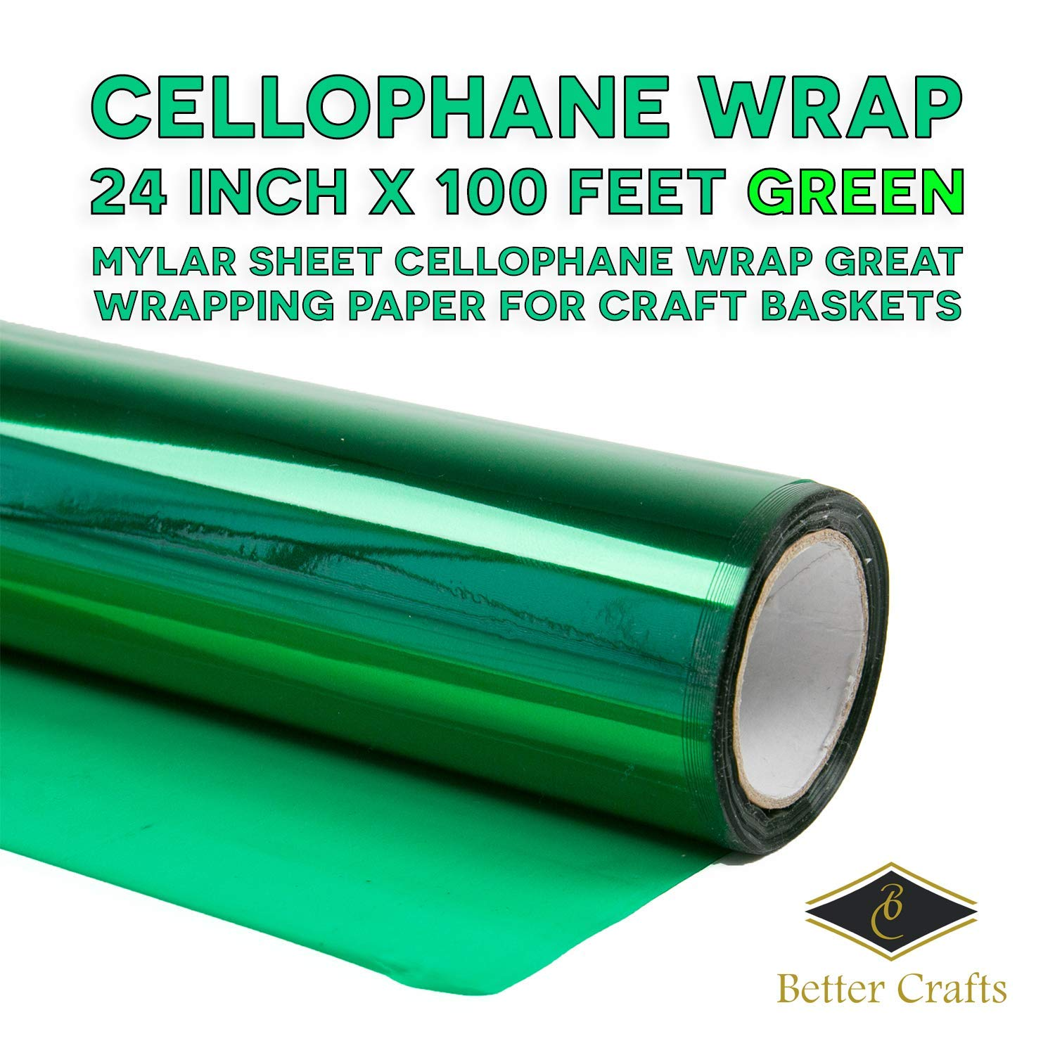 """Cellophane Wrap 24""""Inch x 100'Ft Mylar Sheet Cellophane Roll Great Wrapping Paper for Craft Basket(Purple)"""