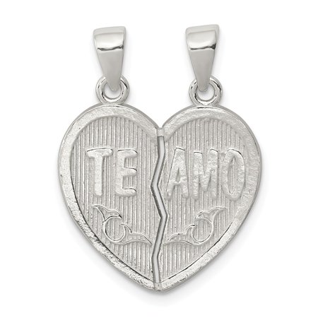 925 Sterling Silver Polished Te Amo Break Apart Heart Pendant for Necklace