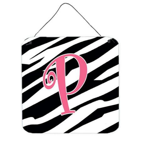 - Letter P Initial Zebra Stripe And Pink Aluminium Metal Wall Or Door Hanging Prints