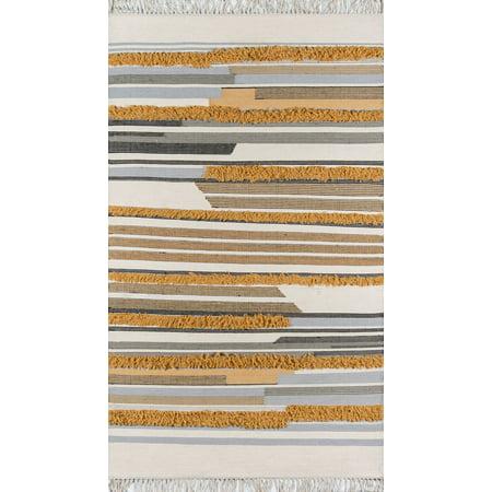 Novogratz by Momeni Indio Feliz Wool Hand Made Mustard Area Rug 2' X (Indio Mall Stores)