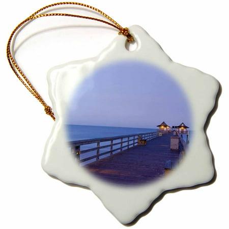 3dRose USA, Florida, Naples Naples Pier, Dawn - US10 WBI0226 - Walter Bibikow, Snowflake Ornament, Porcelain, 3-inch