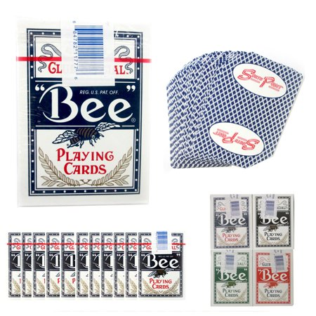 12 Decks BEE Casino Used Playing Cards Poker Case Club Special Cambric - Black Gold Casino