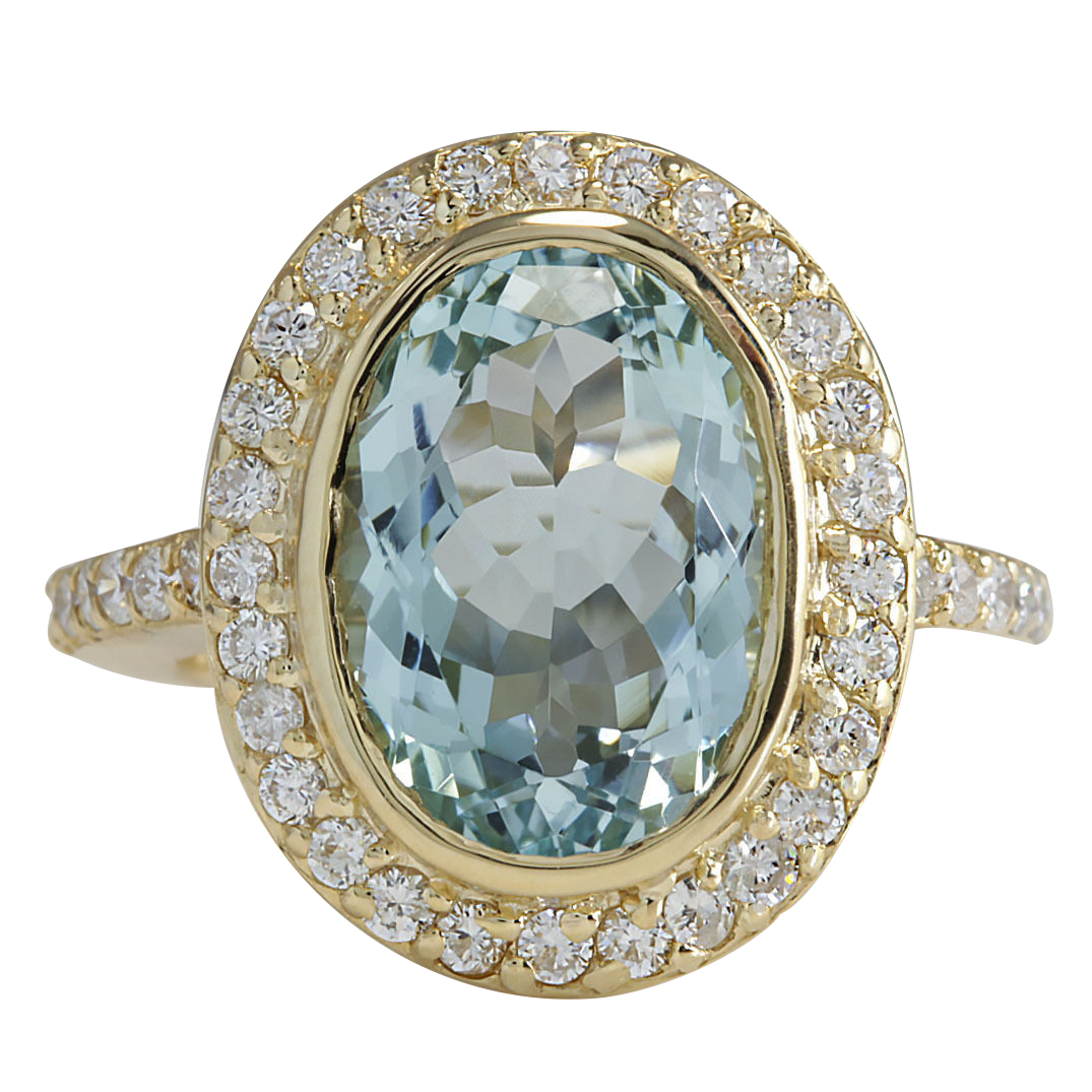 6.35CTW Natural Aquamarine And Diamond Ring In 14K Solid Yellow Gold by
