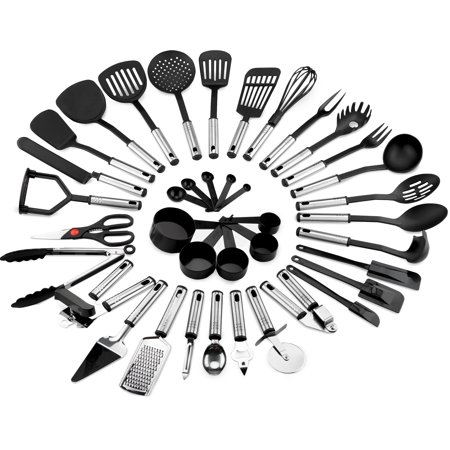 Best Choice Products 39-Piece Stainless Steel and Nylon Cooking Tool Utensil Set for Scratch-Free Dishes - Black/Silver