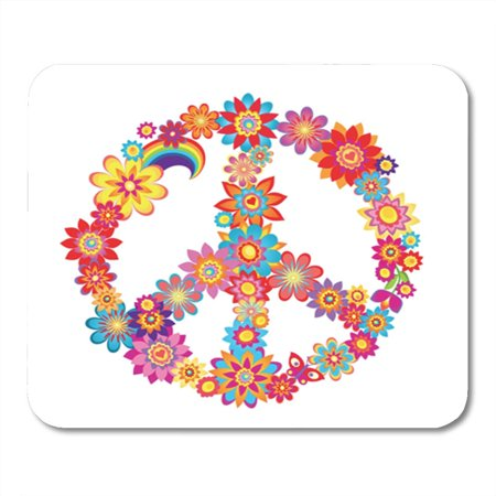 SIDONKU Sign Colorful Peace Flower Symbol Power 1970S 60S Heart Vector Mousepad Mouse Pad Mouse Mat 9x10 inch - 60s Flower Child