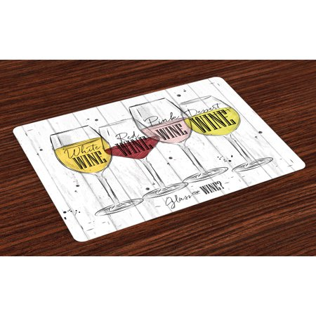 Wine Placemats Set of 4 Four Main Types of Wine with Their Names Glasses Vintage Rustic Wood Backdrop Drawing, Washable Fabric Place Mats for Dining Room Kitchen Table Decor,Multicolor, by