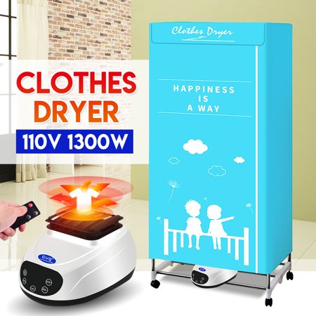Electric Portable Clothes Dryer - Laundry Drying Rack with High Powered 1300W 110V Heater and Germ Killing UV Light Sanitation - Compact Capacity