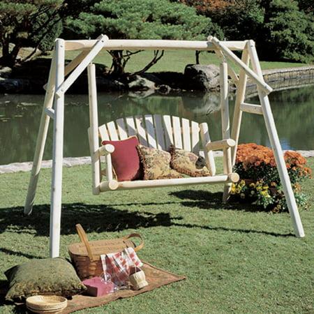 Rustic Natural Cedar Furniture American Garden 5 ft. Log Porch Swing ...