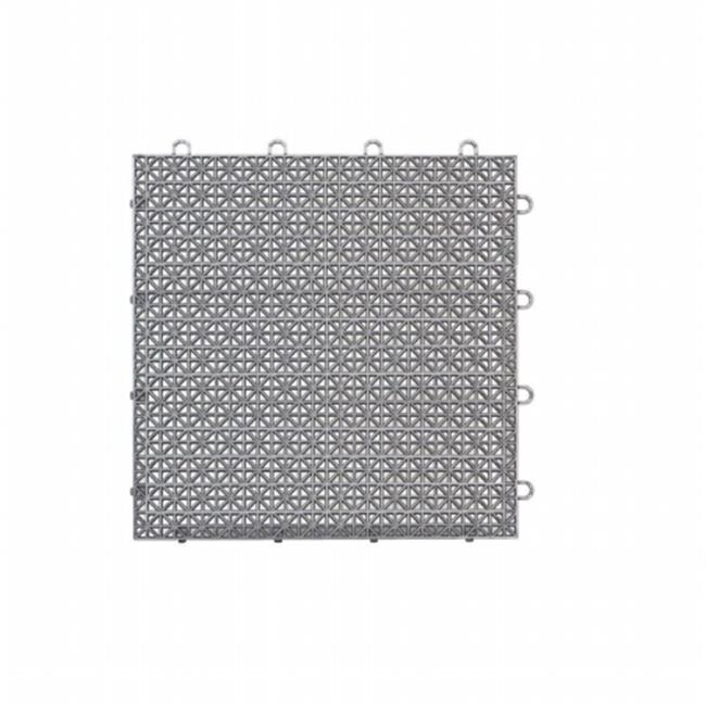 12 x 12 in. Armadillo Polished Chrome Polypropylene Interlocking Multi Purpose Floor Tile, Pack of 9