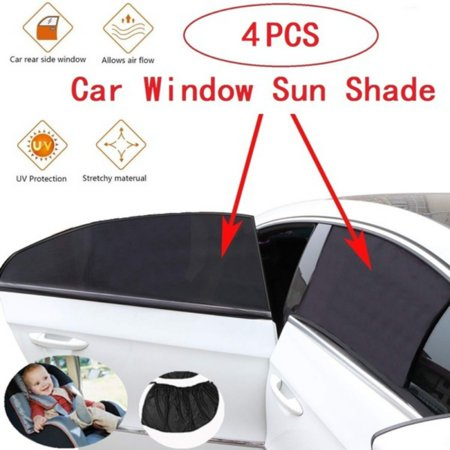 ZEDWELL 4 Pieces Adjustable Car Side Rear Window Sun Shade Black Mesh Car Cover Visor Shield Sunshade UV Protection,Fit Most of Vehicle,2 (Cab 2 Piece)