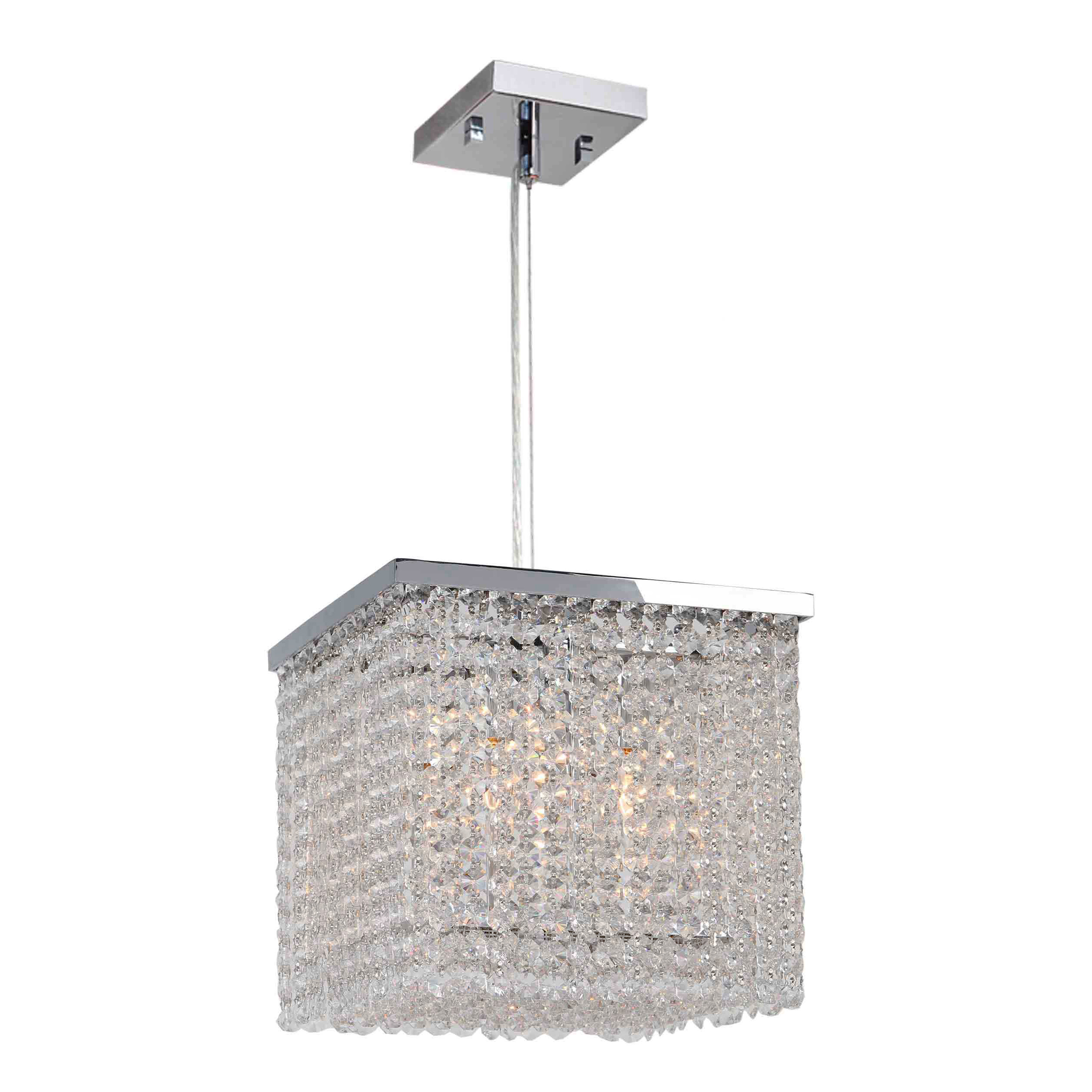 Worldwide Lighting W83726C10 Prism 4 Light Chrome Finish with Clear Crystal Pendant