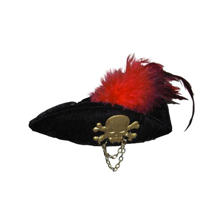 Womens  Black Mini Micro Small Costume Pirate Hat With Feathers (Pirate Halloween Beard Black)