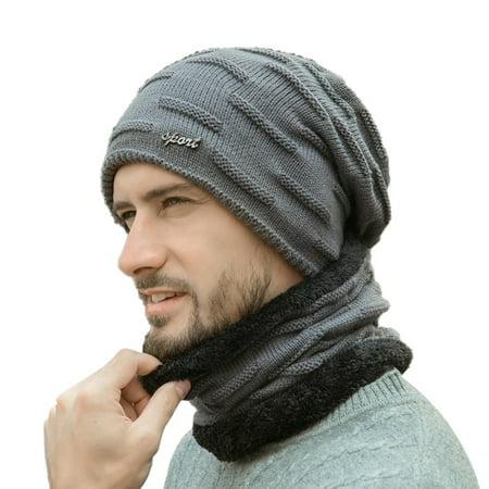 Fysho Beanie Hat Scarf Set Men Autumn Winter Thick Thermal Fluffy Knitted Cap Neck Warmer Headwear (Thermal Headwear)
