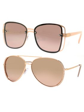 Product Image Time and Tru Women s Metal Sunglasses 2-Pack Bundle  Square  Sunglasses and Aviator Sunglasses 851bb4075d