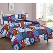 TWIN PATCHWORK BOYS BEDDING SET, Beautiful Microfiber Comforter With Furry Friend and Sheet Set (6 Piece Kids Bed In A Bag)