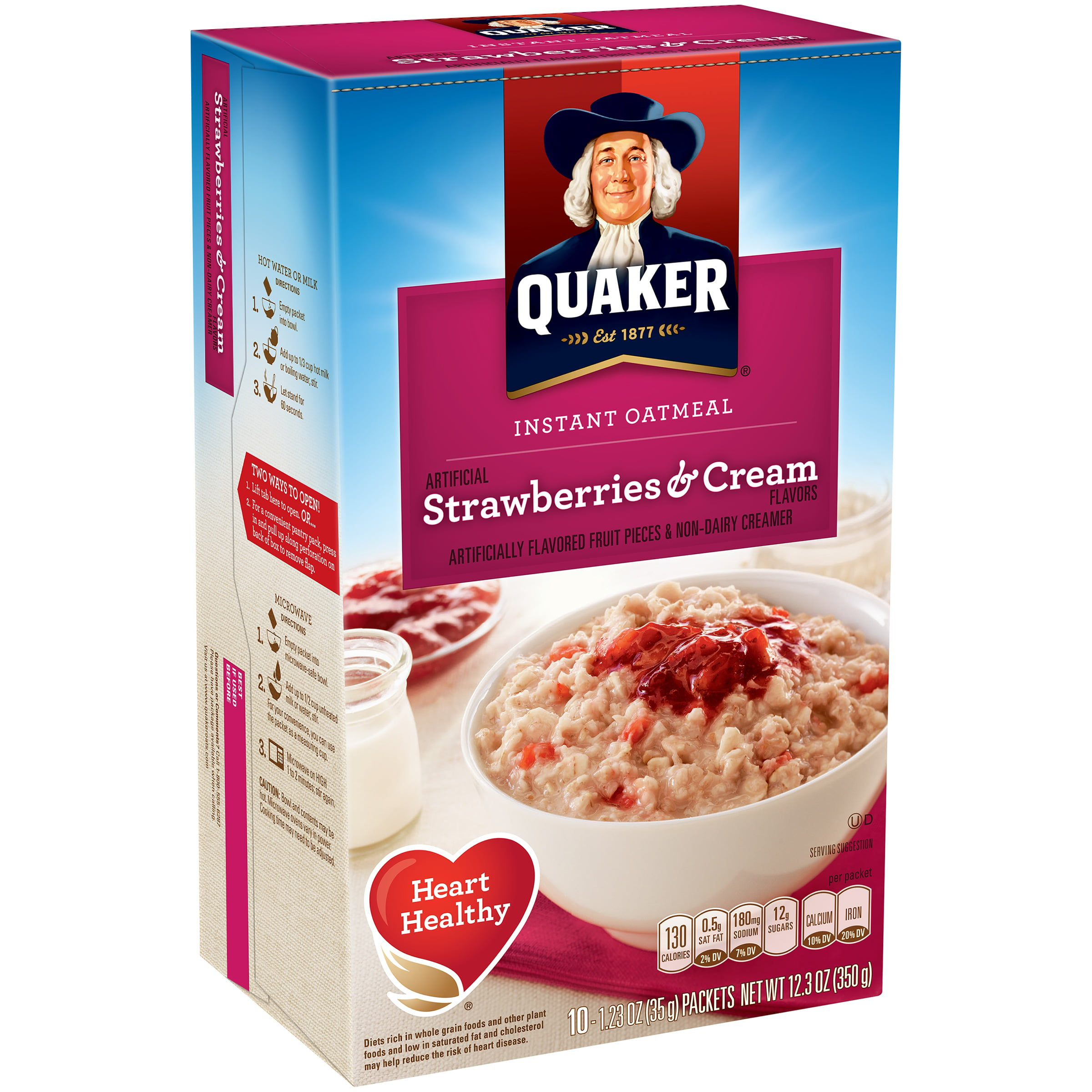 quaker instant oatmeal, strawberries & cream, 10 packets - walmart