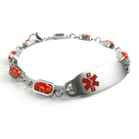 MyIDDr - Engraved Multiple Sclerosis MS Bracelet, Red Millefiori Glass](Ms Bracelets)
