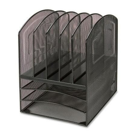 Black Mesh Desk Organizer - Lorell 8-compartment Steel Mesh Desktop Organizer, Black
