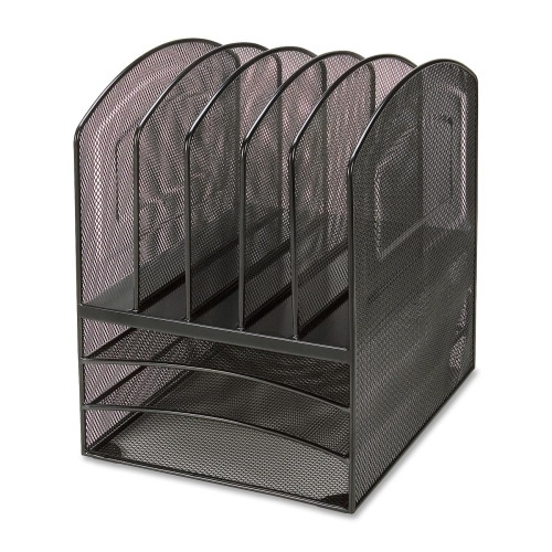Lorell 8-compartment Steel Mesh Desktop Organizer, Black