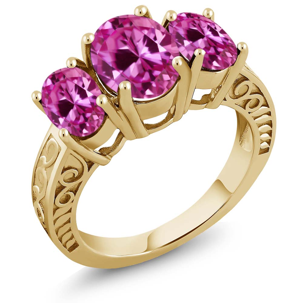 4.20 Ct Oval Pink Created Sapphire 18K Yellow Gold Plated Silver Ring by