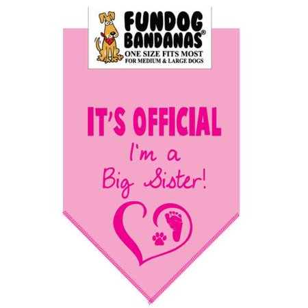 - Fun Dog Bandana - It's official I'm a big sister - One Size Fits Most for Med to Lg Dogs, light pink pet scarf