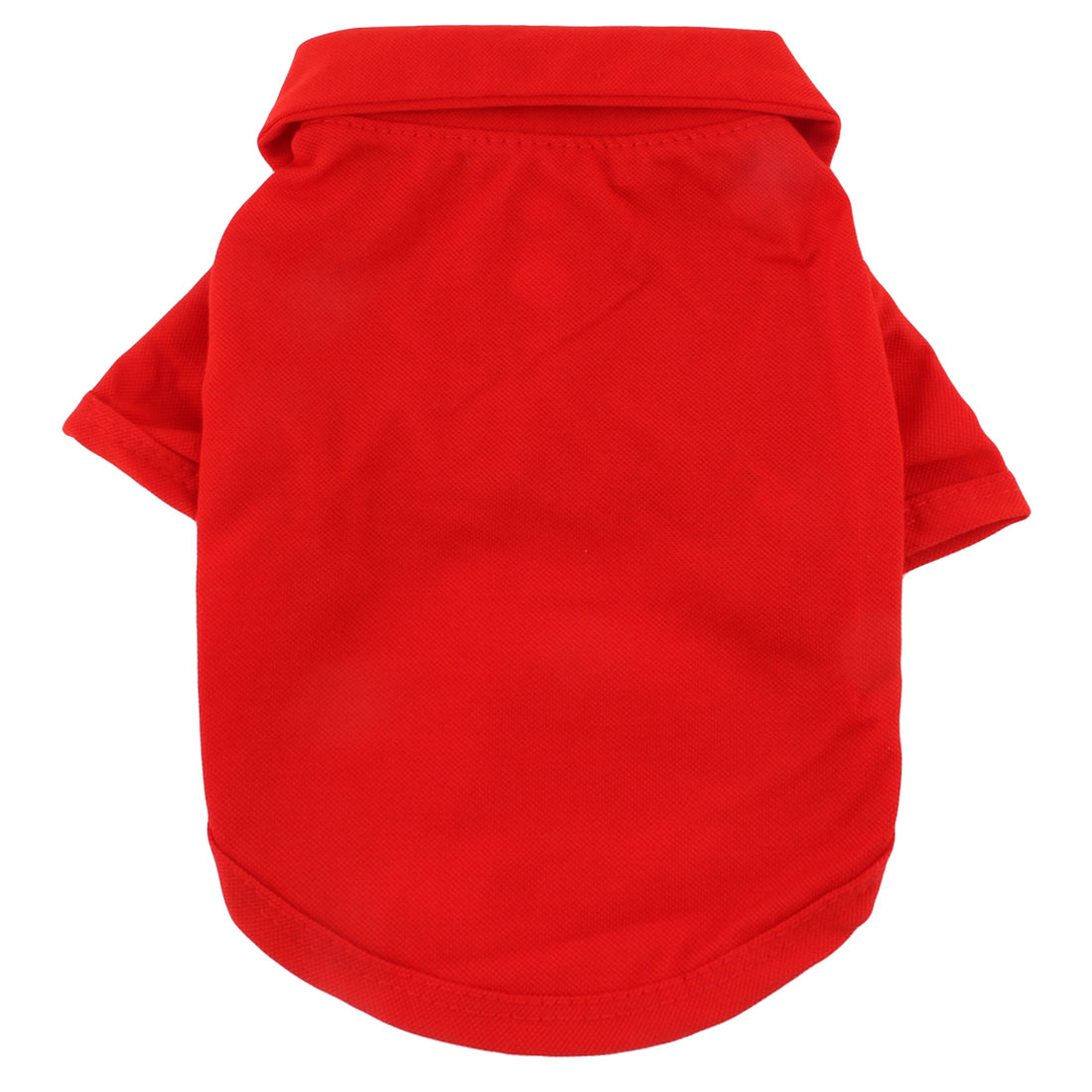 Pet Dog Polyester Summer Short Sleeve Lapel T-Shirt Clothes Apparel Red Size S