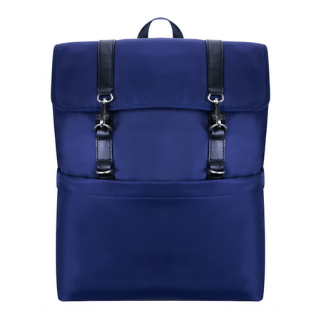McKlein ELEMENT, Flap Over Laptop Backpack, Nano Tech-Light Nylon with Leather Trim, Navy (18477)
