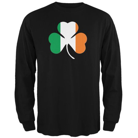 St. Patricks Day - Shamrock Flag Black Adult Long Sleeve T-Shirt - Shamrock Skirt
