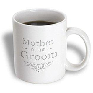 3dRose Mother of the Groom in silver - Wedding - part of matching marriage party set - grey gray swirls, Ceramic Mug, 11-ounce