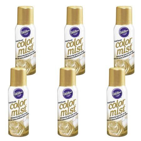 (6 Pack) Wilton Gold Color Mist Shimmering Food Color Spray, 1.5 oz
