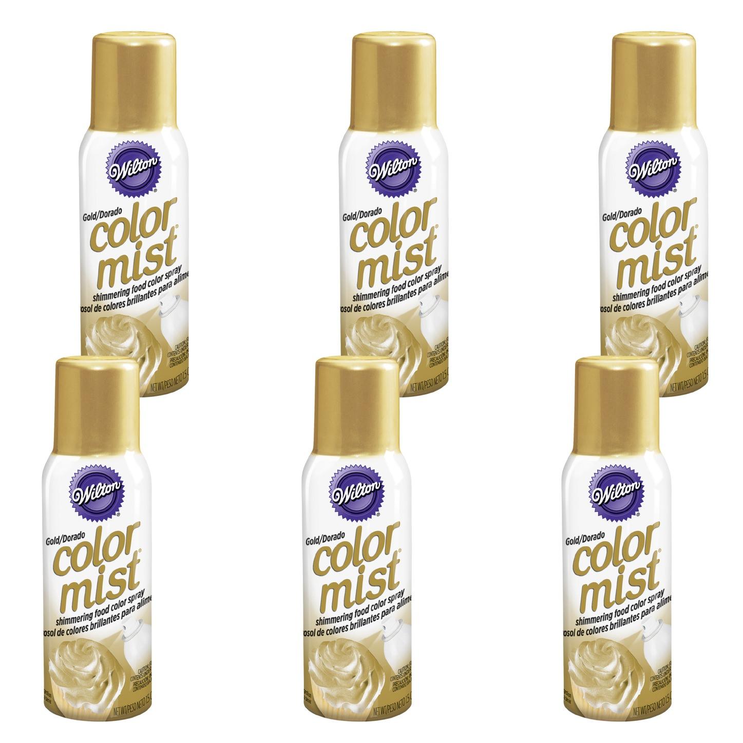 (6 Pack) Wilton Gold Color Mist Shimmering Food Color Spray, 1.5 oz.