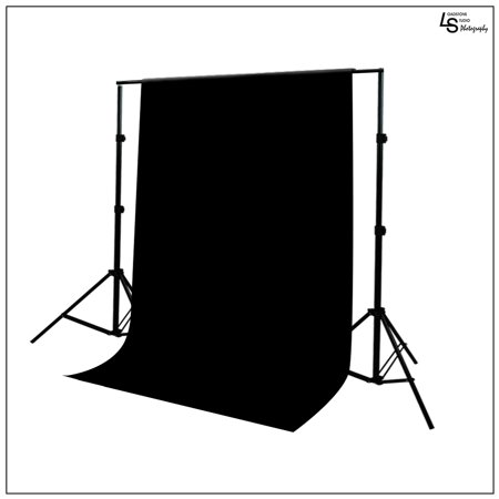 Photo Video 10'x8.5' Photography Backdrop Support Stand with Premium Seamless 6'x9' Black Muslin Backdrop by Loadstone Studio WMLS0575