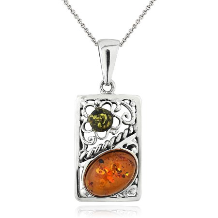 "Image of Amber Nights Square Frame Amber Sterling Silver Pendant, 18"" Rolo Chain"