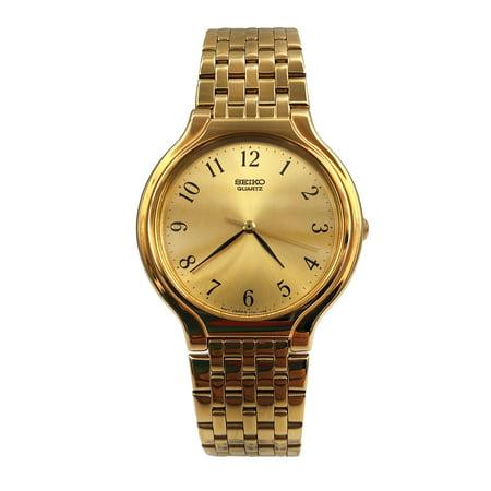 Seiko Dress Gold Tone Steel Champagne Arabic Dial Quartz Ladies Watch (Champagne Arabic Dial)