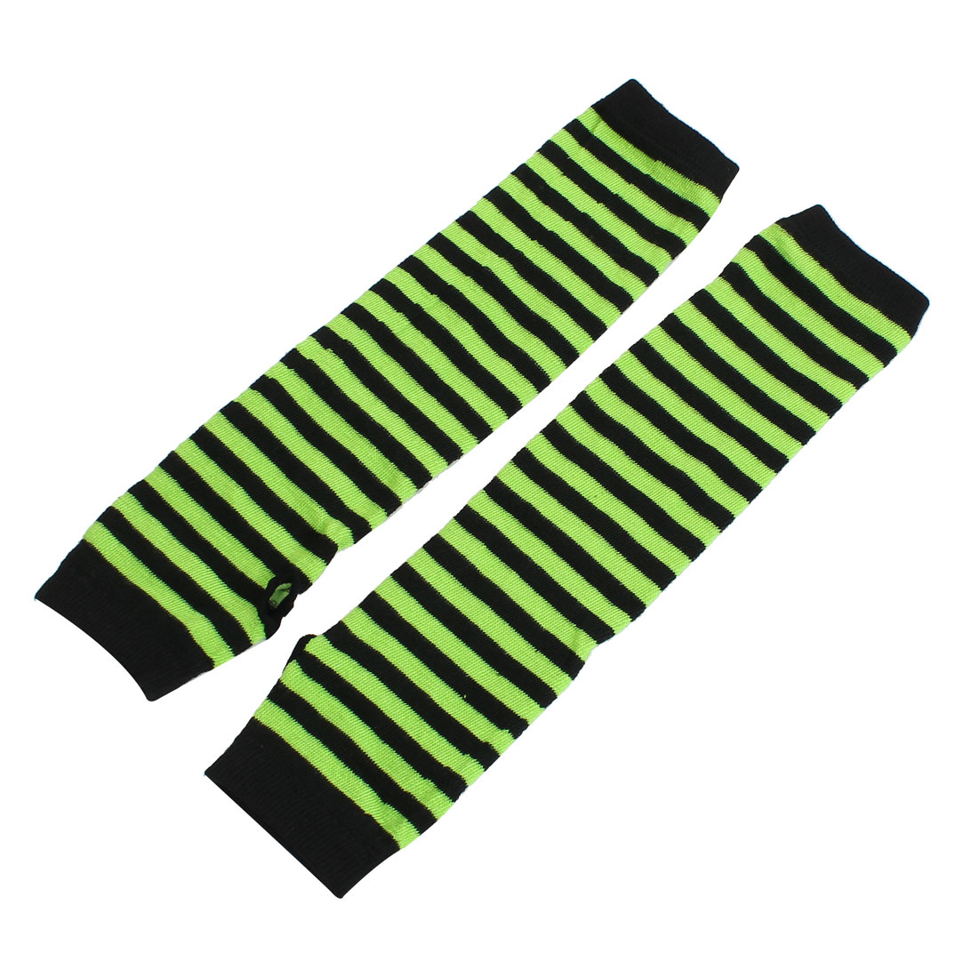 Lady Winter Elbow Length Stretchy Fingerless Arm Warmers Gloves Black Green Pair