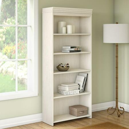 - Bush Furniture Stanford 5 Shelf Bookcase In Antique White - Walmart.com