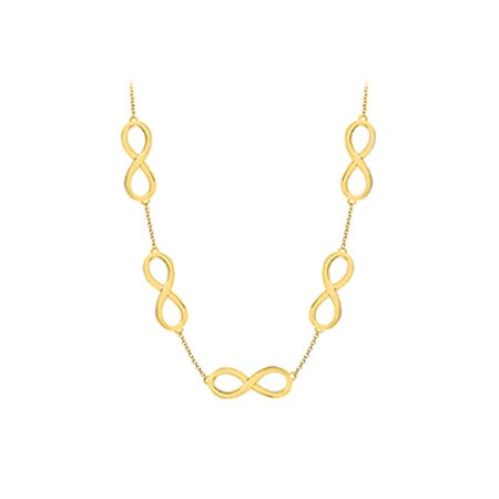 Infinity Link Necklace with 18K Yellow Gold Vermeil in Sterling Silver 17 Inch Necklace - image 1 of 2