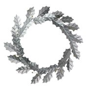 "Melrose 18"" Gray/Gold Galvanized Holly Leaf and Berry Artificial Christmas Wreath"
