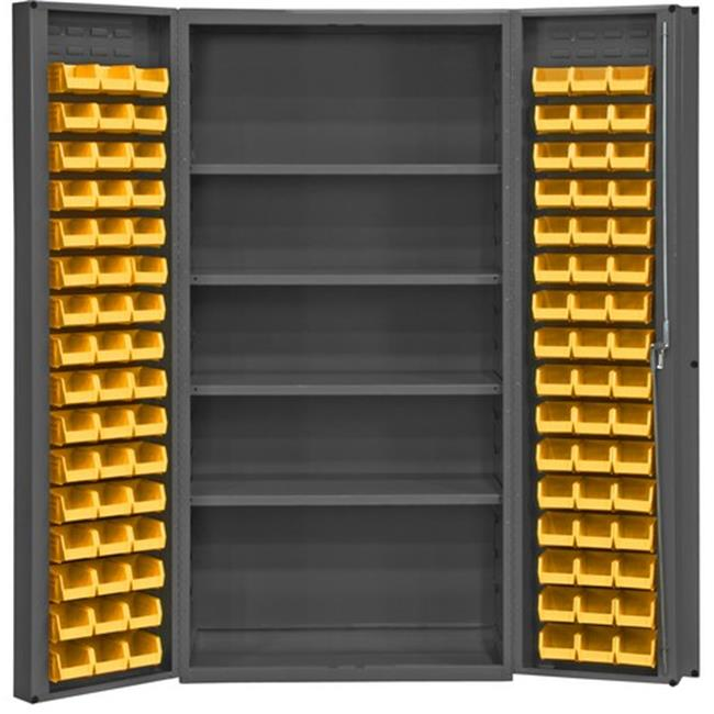 14 Gauge Heavy Duty Lockable Cabinet with 96 Yellow Hook on Bins & 4 Adjustable Shelves, Gray - 36 x 24 x 72 in.