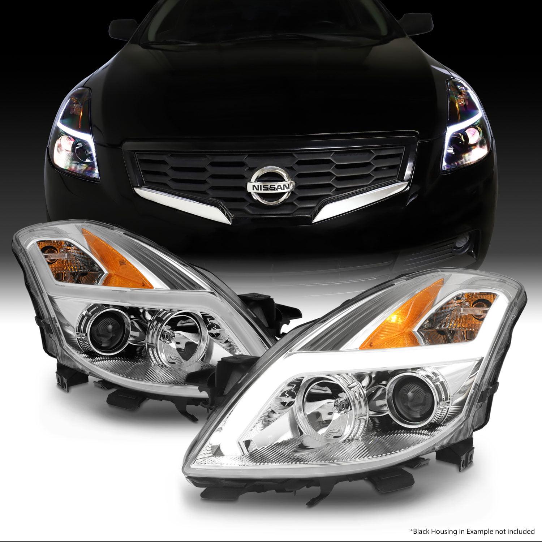 For 08 09 Nissan Altima Coupe Led Light Tube Projector Headlight Chrome Housing Walmart Com Walmart Com