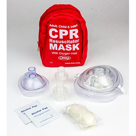 (Ever Ready First Aid Adult and Infant CPR Mask Combo Kit with 2 Valves (With Pair of Nitrile Gloves & 2 Alcohol Prep Pads))