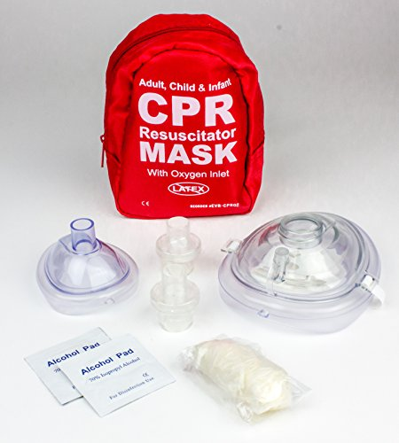 Ever Ready First Aid Adult and Infant CPR Mask Combo Kit with 2 Valves (With Pair of Nitrile Gloves & 2 Alcohol Prep Pads)