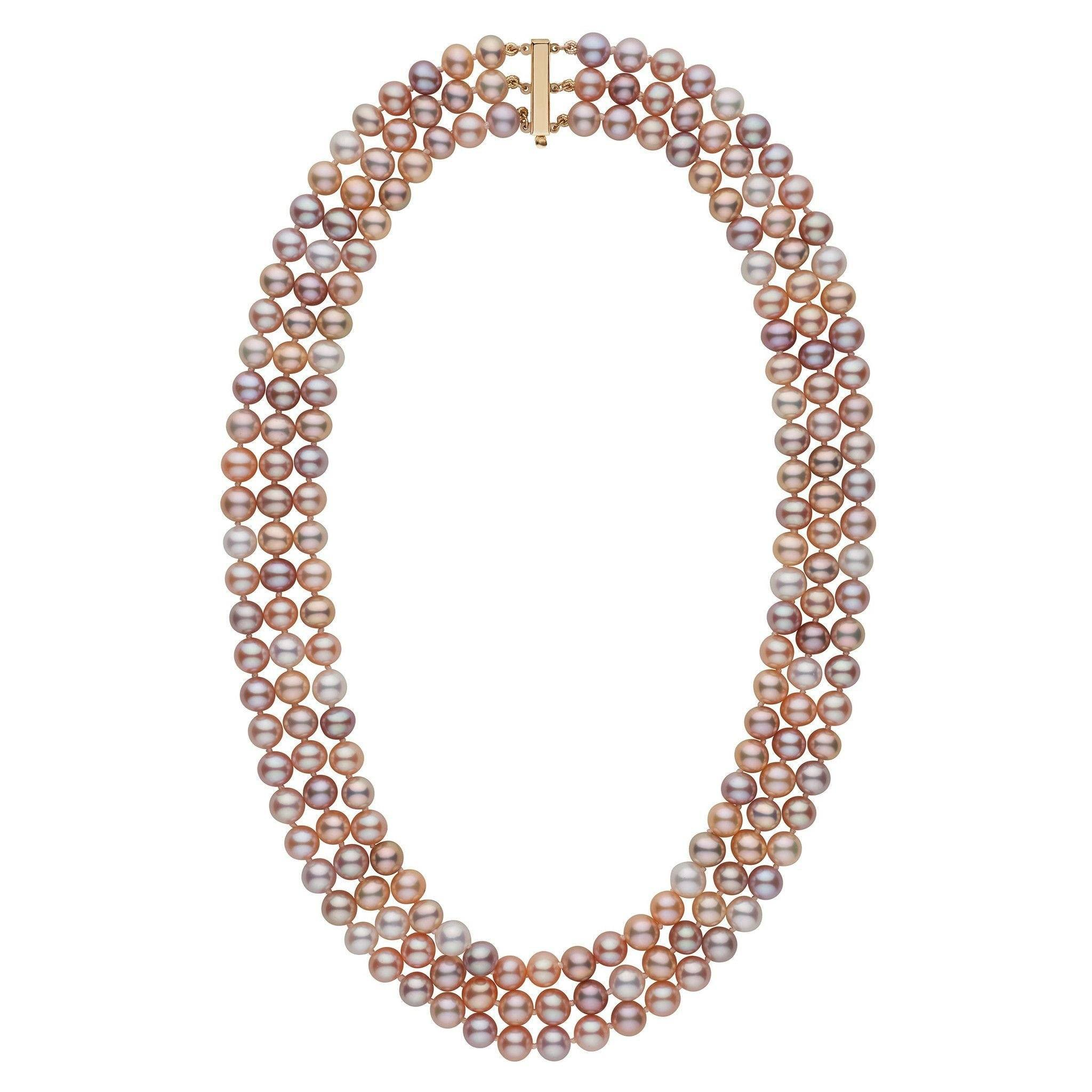 6.5-7.0 mm Triple-Strand AAA Multicolor Freshwater Cultured Pearl Necklace by Pearl Paradise