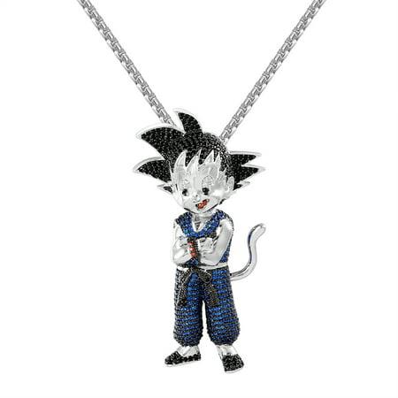 Goku saiyan custom pendant blue lab diamonds iced out white gold goku saiyan custom pendant blue lab diamonds iced out white gold finish chain charm aloadofball Gallery