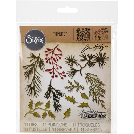 Sizzix Thinlits Dies 11/Pkg By Tim Holtz-Mini Holiday Greens - image 1 of 1